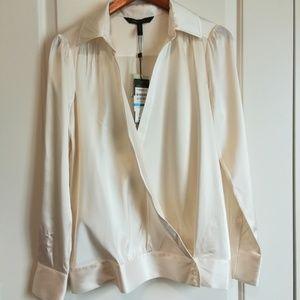 Nwt Bcbg Max Azria cream front wrap blouse